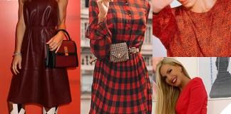 Nicoletta Romanoff, Rocio Munoz Morales, Belen Rodriguez, Federica Panicucci con abiti rossi