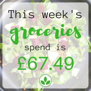 This week's groceries spend is £67.49