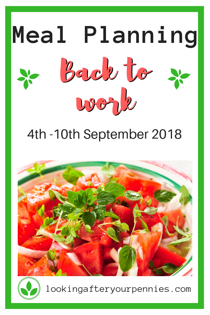 Back to work meal planning means thinking ahead to packed lunches and ensuring that everyone gets fed wherever we are. Check out my plans for the first week back. #mealplanning #frugal #nofoodwaste
