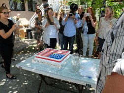 """There was patriotic cake. The yellow part of the stripes section was Kosovo, our """"51st state""""."""