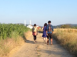 Friends who walk to Topanice together stay together. The Topanice mosque is in the background.