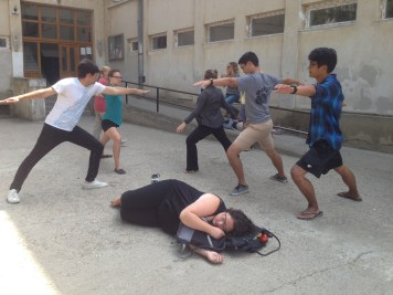While the others moved on to the warrior pose, Cait found a different method for stress relief.