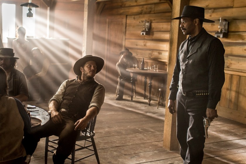 Chris Pratt and Denzel Washington in Metro-Goldwyn-Mayer Pictures and Columbia Pictures' THE MAGNIFICENT SEVEN.