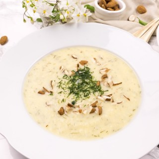 Rich, Silky Celeriac Soup with Dill and Home-Made Almond Cream