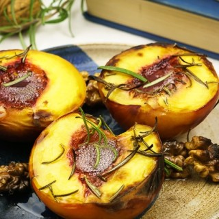 Juicy Grilled Peaches with Rosemary and Walnuts