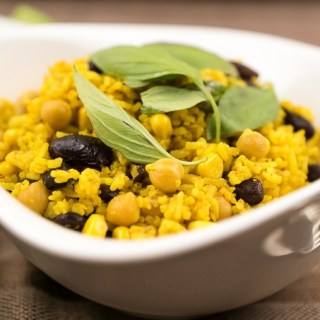 Curried Fried Rice with Chickpeas, Corn, and Kidney Beans