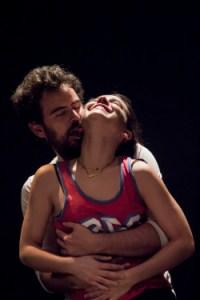 Carlota Olcina and Pau Roca in the play Pulmons at Teatre Lliure. Photo by Adriana Nadal
