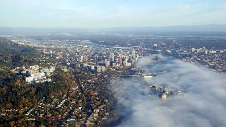 Cloudy downtown Portland