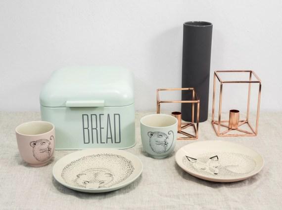miętowy chlebak i ceramika dla dzieci