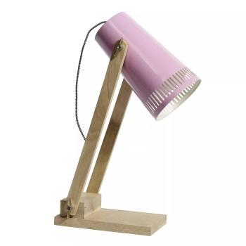 różowa lampka drewniana na biurko Nordal