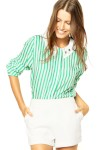 Camisa Mooncity Listras Verde/ Branco - Mooncity