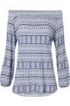 Blusa Ombro A Ombro Salete Estampada - Azul - Le Lis Blanc