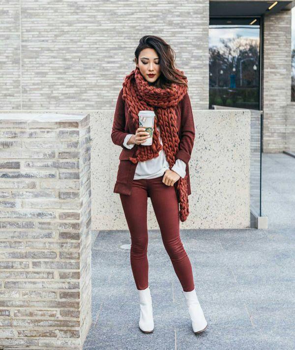 шарф хомут крупной вязки фото