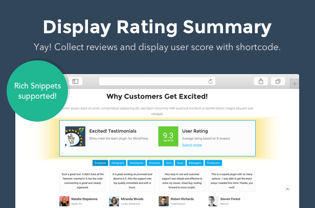 Testimonials Showcase for WordPress — Excited! 10