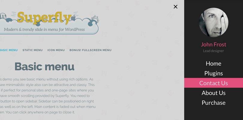 Superfly menu WordPress plugin Example