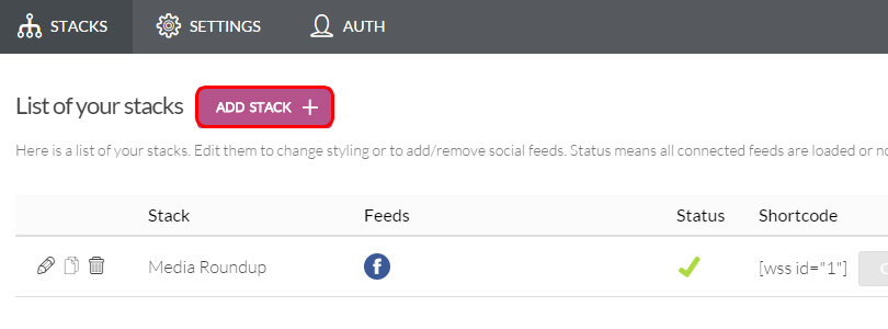 Social Stacks add stack
