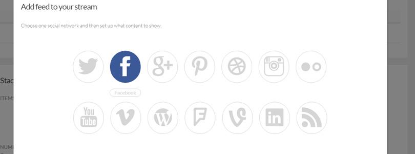 Social Stacks modal feed window