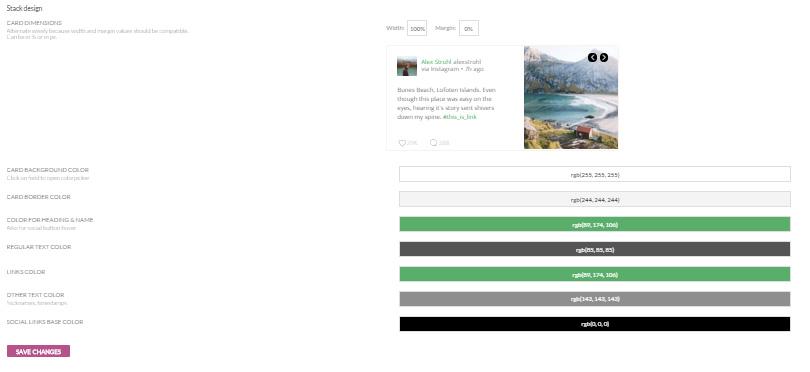 Social Stacks design settings