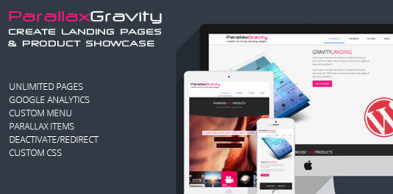 Parallax Gravity Landing Page Builder