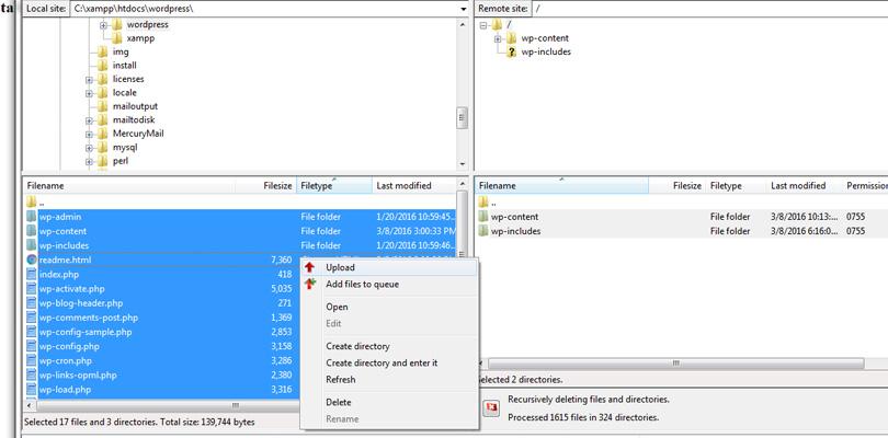 Upload files via FileZilla