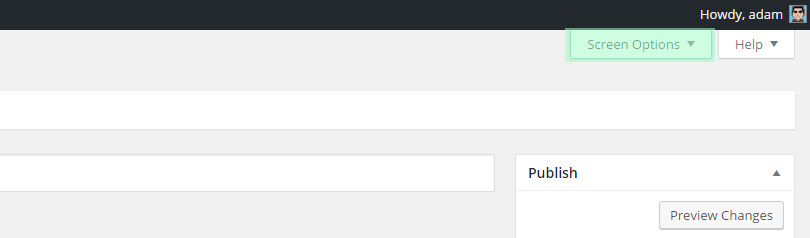WordPress Screen Options Menu
