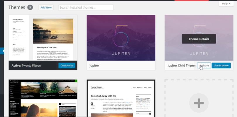 install-jupiter-activate-child-theme