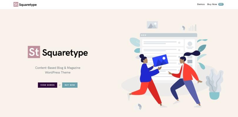 Squaretype — Modern Blog WordPress Theme