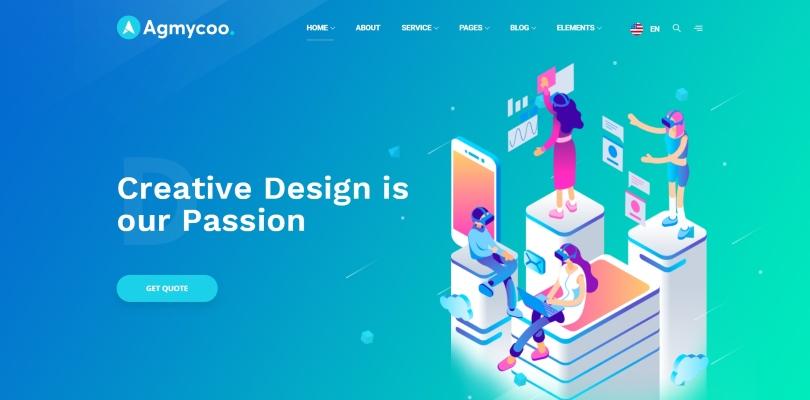 Agmycoo — Isometric Startup Creative Digital Agency WordPress Theme