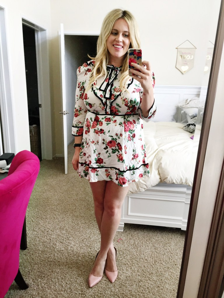 Dressing Room Dilemma xx Floral and One Shoulder Gingham. one shoulder dress, floral dress, pink heels, ootd, fashion blogger, pregnant blogger, san diego blogger