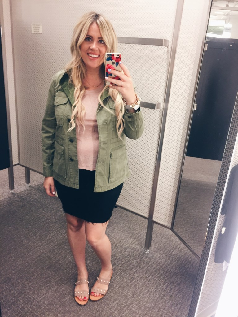 Shades of Green for Fall xx Dressing Room Dilemma, green cardigan, green sweater, lace up sweater, skinny denim, frayed skinny denim, white tee, n sale, nordstrom anniversary, nordstrom anniversary sale, dressing room dilemma, preggo blogger, maternity blogger, san diego blogger