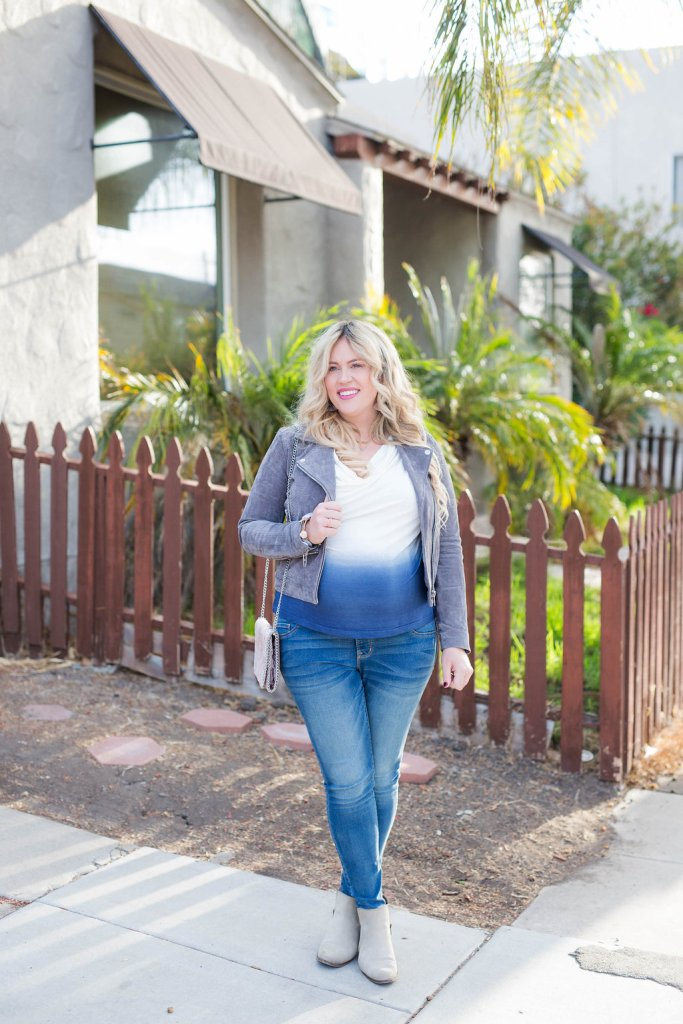 Ombre Blue + Suede for Fall, ombre shirt, ombre tee, ombre for fall, maternity denim, preggo denim, pregnancy denim, best pregnant jeans, chicory lane, chicory lane boutique, san diego blogger, preggo blogger, maternity blogger