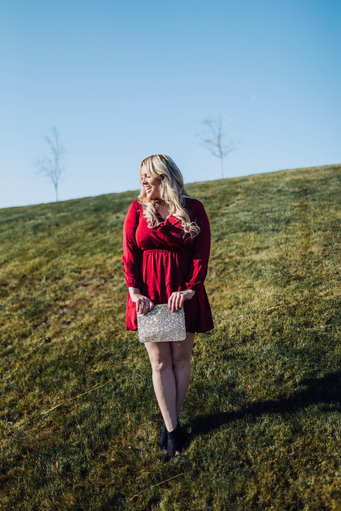 Ruffled Red Dress for Holiday, red dress, holiday dress, red holiday dress, red ruffled dress, red ootd, holiday ootd, fashion blogger, san diego blogger, style blogger, momma blogger, momma ootd