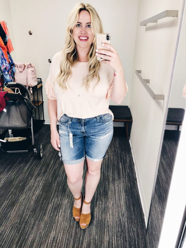 Dressing Room Dilemma - Distressed Shorts xx Bell Sleeve Blouses, nordstrom, mom style, mom shorts, bell sleeve, wedges, mom ootd, vacation style, summer, curvy blogger, body positive, curvy style