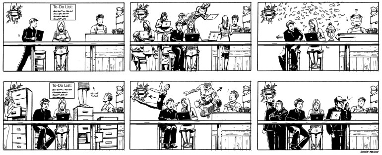 Storyboards about a woman in a cafe using her new Google Chromebook
