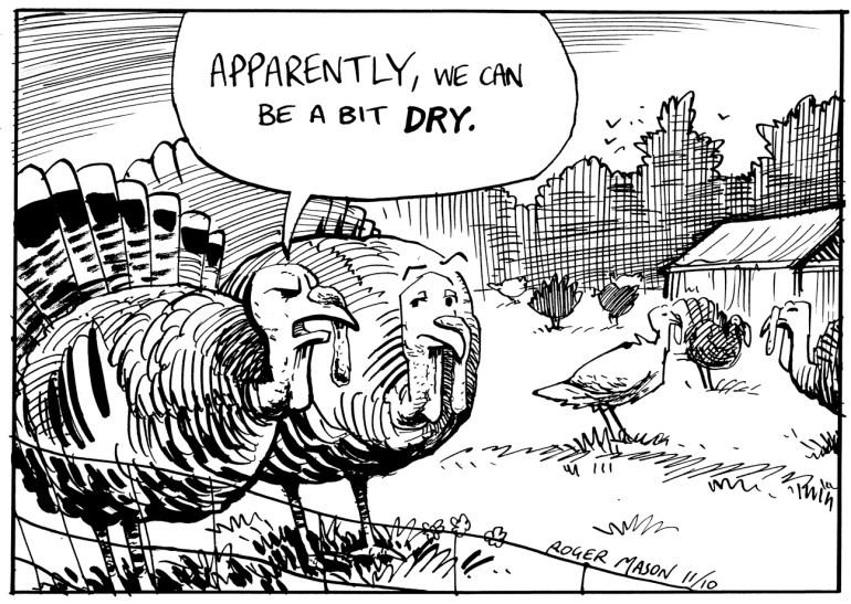 Turkeys at Christmas. Cartoon by Roger Mason