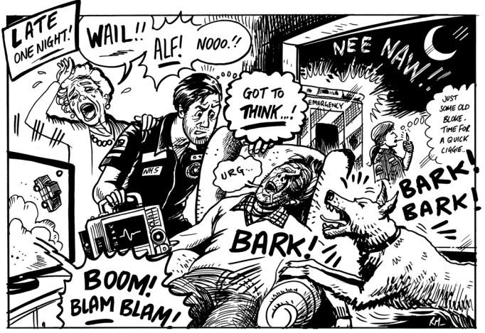 Cartoon drawing as a teaching aid by Roger Mason