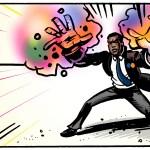 A superhero uses his energy powers. Storyboard frame.
