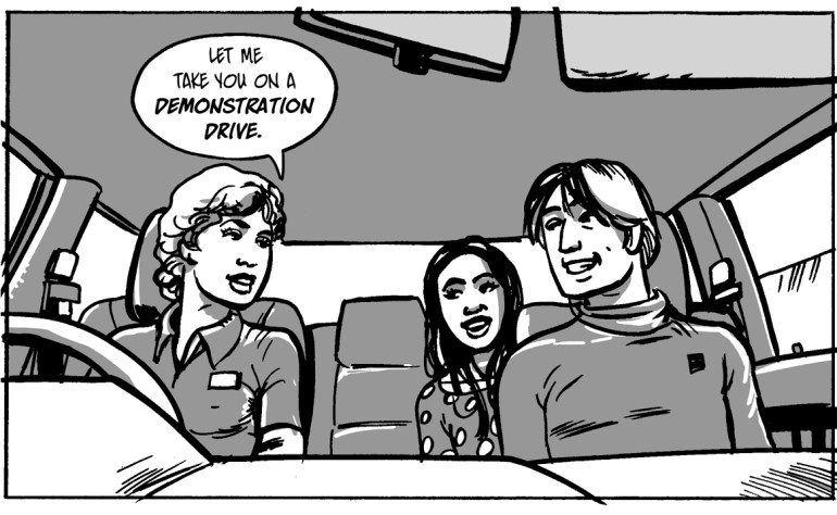 An illustration of an employee taking a young couple on a test drive.
