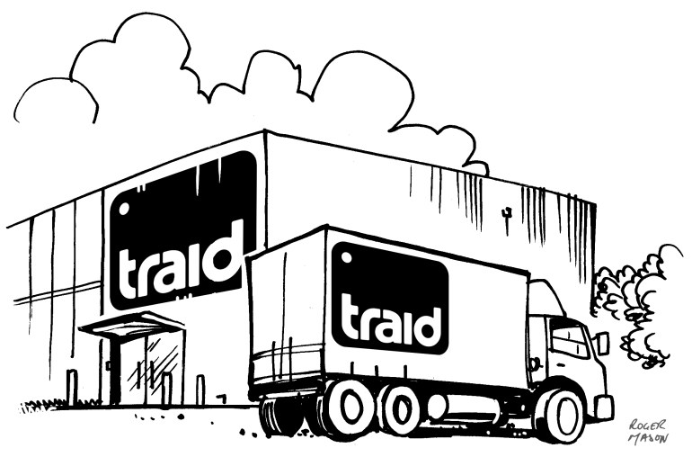 Lorry depot illustration for Traid, commissioned by Zerofee, by Roger Mason