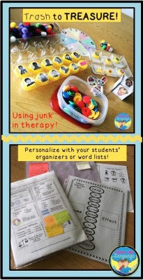 Trash to treasure: Ideas for using junk in therapy from Looks Like Language