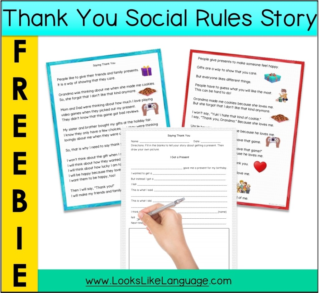 Pictures of the free social skills download you can get when you sign up for the LLL email.