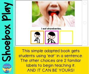 Add in adapted books to expand language and literacy skills for your speech therapy students with autism.