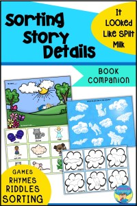 Book companion for It Looked Like Spilt Milk, speech therapy, preschool, special education