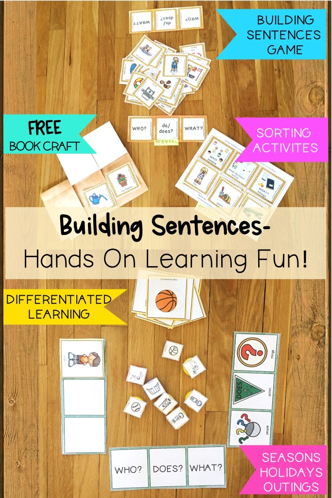 sentence building, autism, differentiated instruction, free download