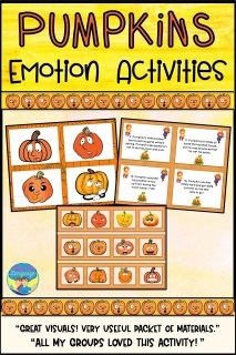 Have fun working on facial expressions and vocabulary for emotions with a pumpkin theme!
