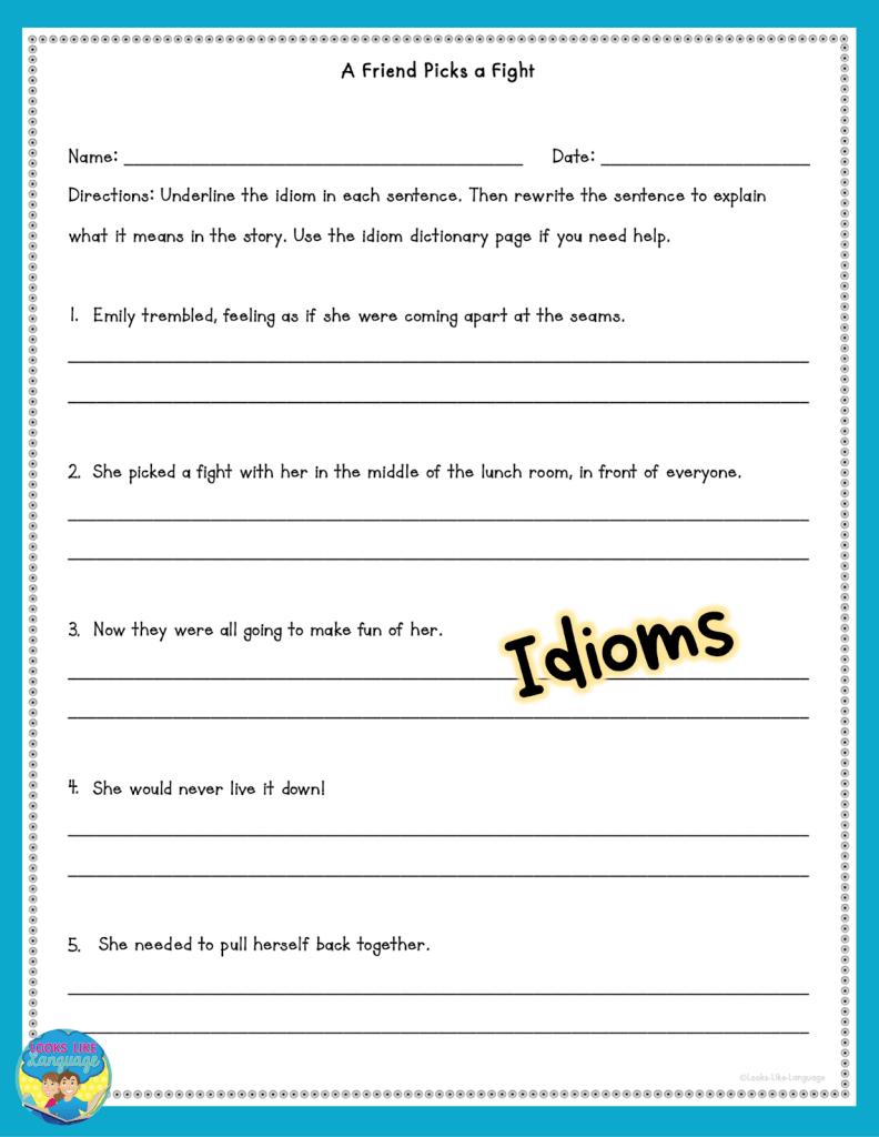 idioms, speech therapy, social scenarios