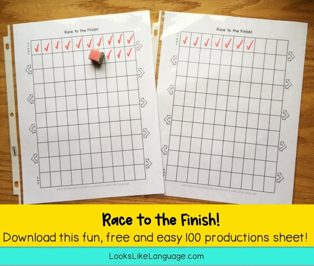 100 productions, articulation, speech-language therapy