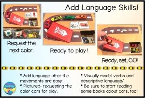 autism activities, shoebox play with cars, speech therapy, special education