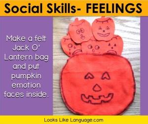 Make a felt Jack O'Lantern bag and put pumpkin emotion faces inside.