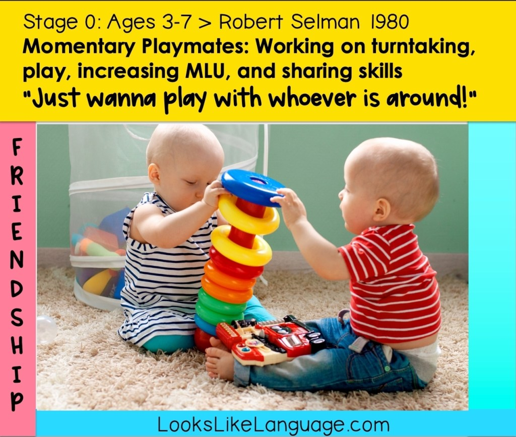 Toddlers in Friendship Stage 0 are playing together.